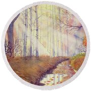 Autumn Memories Round Beach Towel