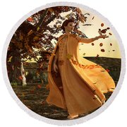 Round Beach Towel featuring the digital art Autumn by Methune Hively