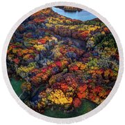 Autumn Minnesota Parks - Lebanon Hills Park Dakota County Round Beach Towel