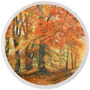 Autumn Mirage Round Beach Towel