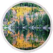 Autumn Mirror At Bear Lake Round Beach Towel