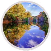 Autumn Mirror Round Beach Towel