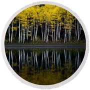 Autumn Mirror Round Beach Towel by Dustin  LeFevre