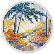Autumn Mist Round Beach Towel