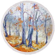 Autumn Mist - Morning Round Beach Towel