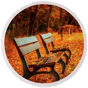 Autumn Moments Round Beach Towel