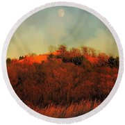 Autumn Moonrise Round Beach Towel