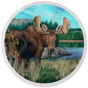 Autumn Moose Round Beach Towel