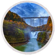 Autumn Morning At Upper Falls Round Beach Towel