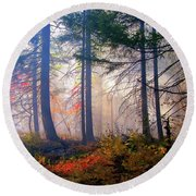 Autumn Morning Fire And Mist Round Beach Towel