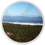 Round Beach Towel featuring the photograph Autumn Morning by Jeff Severson