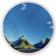 Round Beach Towel featuring the photograph Autumn Morning Milford Sound by Gary Eason