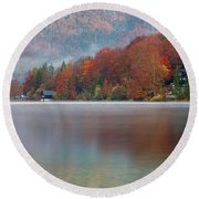 Autumn Morning Over Lake Bohinj Round Beach Towel