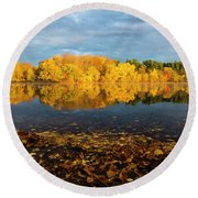Autumn Morning Reflection On Lake Pentucket Round Beach Towel