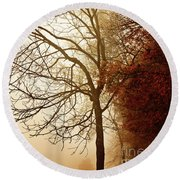 Autumn Morning Round Beach Towel by Stephanie Frey