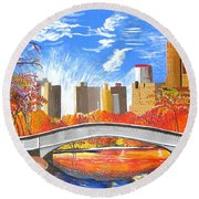 Autumn Oasis Round Beach Towel