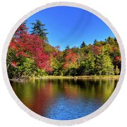 Autumn On 7th Lake Round Beach Towel