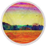 Autumn On Earth Two Round Beach Towel