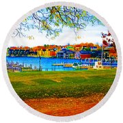 Autumn On Lake Charlevoix Round Beach Towel