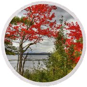 Round Beach Towel featuring the photograph Autumn On Raquette Lake by David Patterson