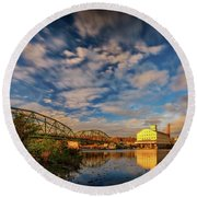 Round Beach Towel featuring the photograph Autumn On The Androscoggin River by Rick Berk