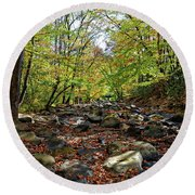 Round Beach Towel featuring the photograph Autumn On The Clifty Creek by Paul Mashburn