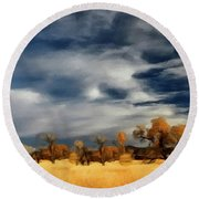 Round Beach Towel featuring the painting Autumn On The Edge Of The Great Plains  by David Dehner