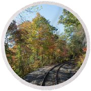 Autumn On The Hiawassee Rails Round Beach Towel