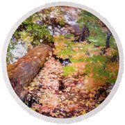 Autumn On The Mountain Round Beach Towel