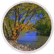 Autumn On The North Raccoon Round Beach Towel by Bruce Morrison