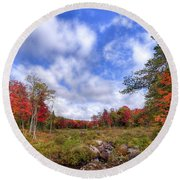 Round Beach Towel featuring the photograph Autumn On The Stream by David Patterson