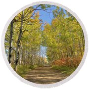 Autumn On The Trail Round Beach Towel