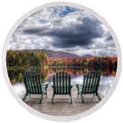 Round Beach Towel featuring the photograph Autumn On West Lake by David Patterson