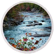 Autumn On Wilson Creek Round Beach Towel