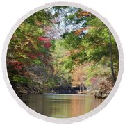 Autumn Over Golden Waters Round Beach Towel by Lana Trussell