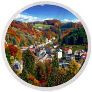 Autumn Panorama Round Beach Towel