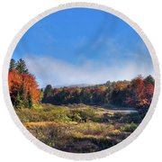 Round Beach Towel featuring the photograph Autumn Panorama At The Green Bridge by David Patterson