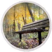 Autumn Park Bench Round Beach Towel by Bonfire Photography