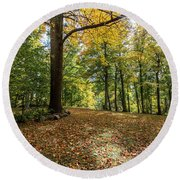 Autumn Park  Round Beach Towel by John McGraw