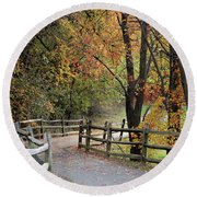 Autumn Path In Park In Maryland Round Beach Towel