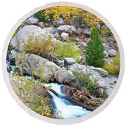 Round Beach Towel featuring the photograph Autumn Peace by Gary Lengyel