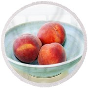 Autumn Peaches Round Beach Towel by Marilyn Hunt