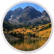 Autumn Peaks Round Beach Towel by Paula Guttilla