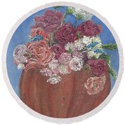 Autumn Petals Round Beach Towel