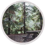 Autumn Picnic In The Woods  Round Beach Towel