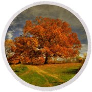 Autumn Picnic On The Hill Round Beach Towel