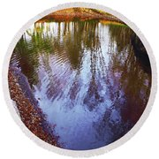 Autumn Reflection Pond Round Beach Towel