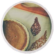 Autumn Pumpkin Pie Round Beach Towel
