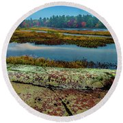 Autumn Rain 2 Round Beach Towel