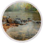 Autumn Rain Gauley River Round Beach Towel by Thomas R Fletcher